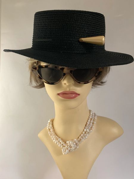 Vintage Inspired Black Paper Straw Boater Hat With Peatlised Cone Shape 5.5 Inch Hat Pin