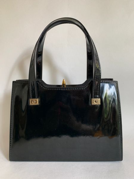 Black Faux Patent Vintage 1960s Vintage Handbag With Fabric Satin Interior And Elbief Frame