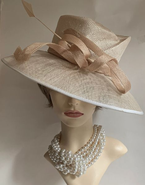 Debut Formal Sinamay Hat Natural Light Straw Coloured Wedding Church Races