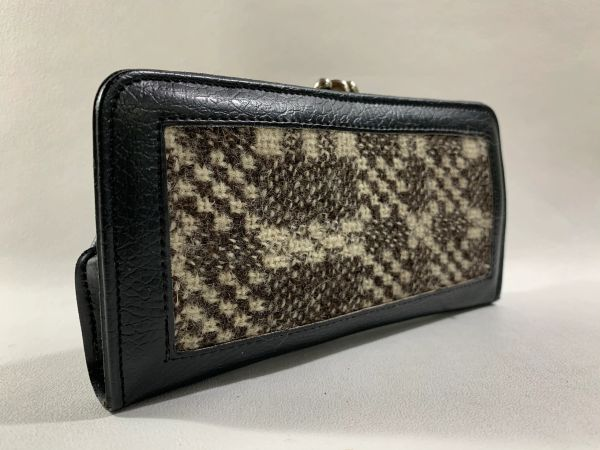 Black Faux Leather & Tweed 1950s Vintage Double Sided Coin Purse.