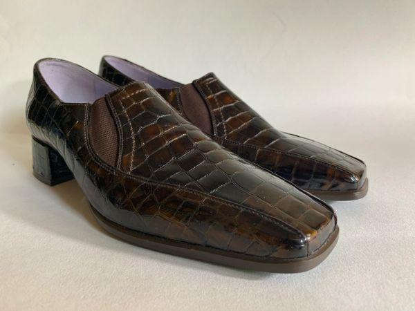 Van Dal Moc Croc Embossed Leather Tortoiseshell Colour Slip On Ladies Loafer Size UK 3.5. US 36.5