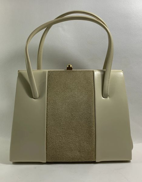 St Michael Ivory Leather With Suede Panel 1950s Vintage Handbag With Ivory Fabric Lining