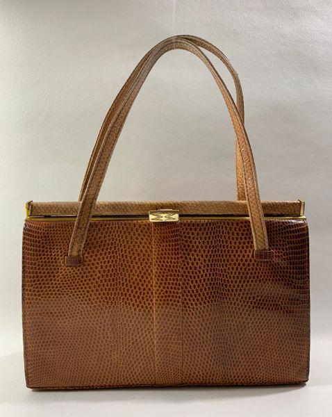 Mappin & Webb Lizard Vintage 1950s Two Tone Tan Handbag Buff Leather Lining