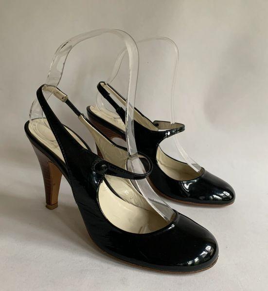 "Rebeca Sanver Black Patent Round Toe Slingback Mary Jane 4"" Stiletto Shoes UK 3 EU 36"