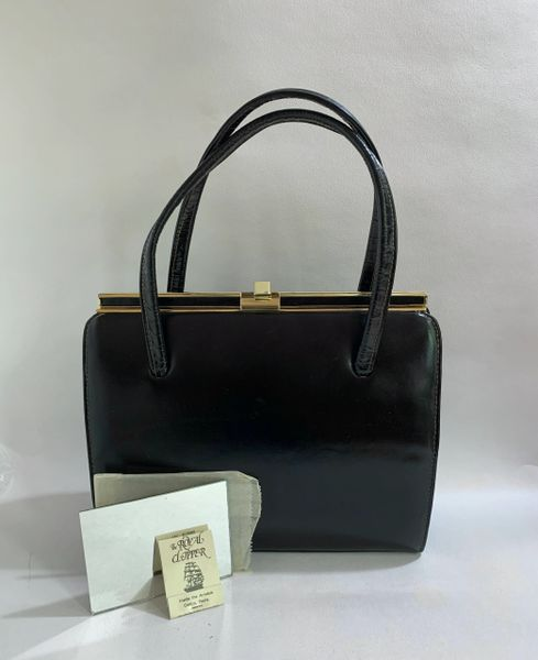 Vintage 1960s Black Faux Leathe Handbag With Buff Suede Lining With Mirror Match Book And Elbief Frame