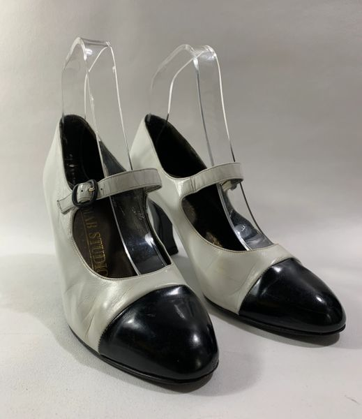 MAB Studio Black And White Leather Mary Jane Shoes 3.25 Inch Heel Size UK 5.5 EU 38.5