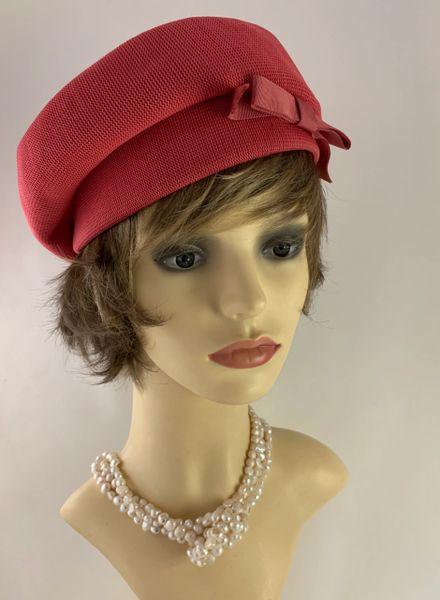 Kangol Zephyr - Park Lane Vintage 1960s Style Rose Pink Polyester Beret With Side Petersham Bow