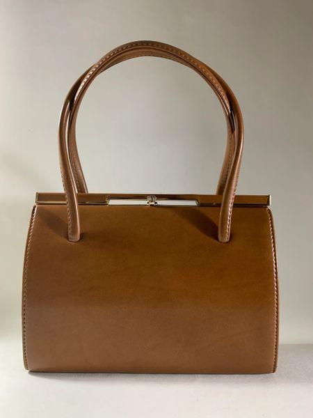 Freedex Faux Leather Vintage 1950s Tan Handbag Buff Suede Lining Elbief Frame
