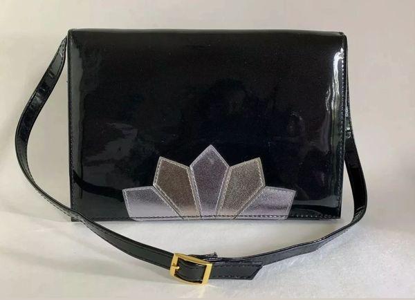 Black Faux Patent 1970s Inspired Adjustable Strap Shoulder Bag Fabric Lining