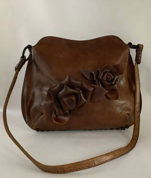 Unusual Dark Tan Soft Leather Shoulder Bag With Two Leather Roses To The Front.