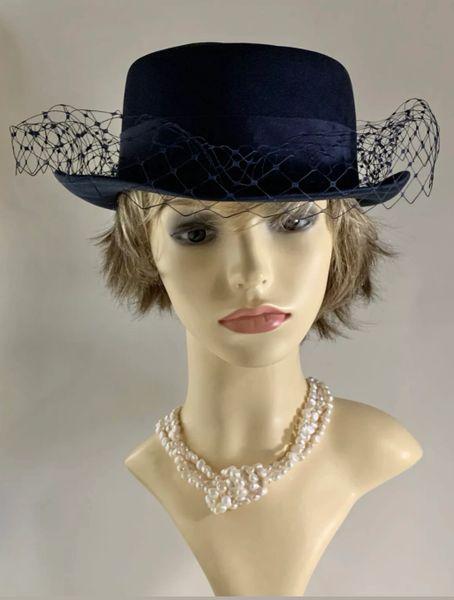 Bermona Trend Dark Blue Polyester Hat With Net Detail Petersham Bow & Ribbon