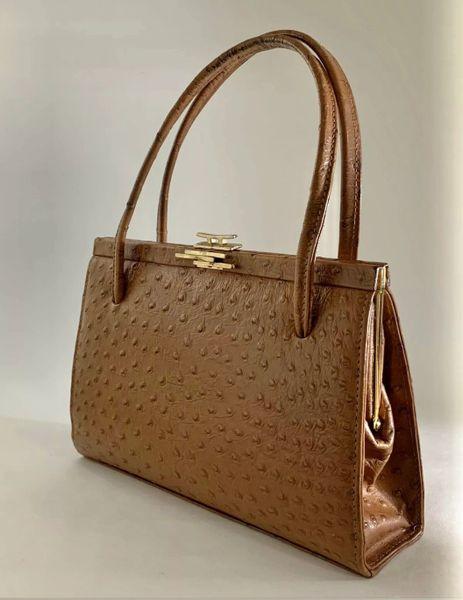 DEBROYAL Tan Leather Ostrich Embossed Suede Lined 1950s Vintage Handbag & Vanity Mirror.
