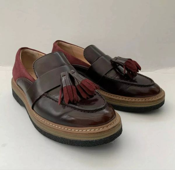 Clarks Burgundy Leather & Suede Ladies Flat Loafers With Tassel Detail Size UK 4 EU 37