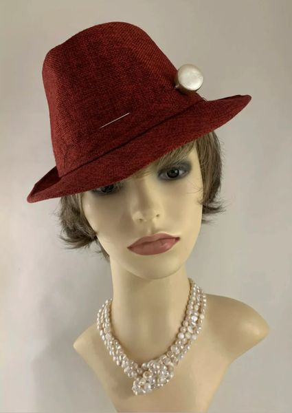 Handmade Red Linen Trilby Stingy Brim Hat Fully Lined With Lolly Pop Shaped Hat Pin Size 22 Inch Circumference