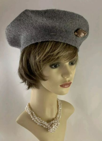 Grey 1960s Inspired French Style Fine Knit Wool Beret With Pine Cone Shaped Hat Pin