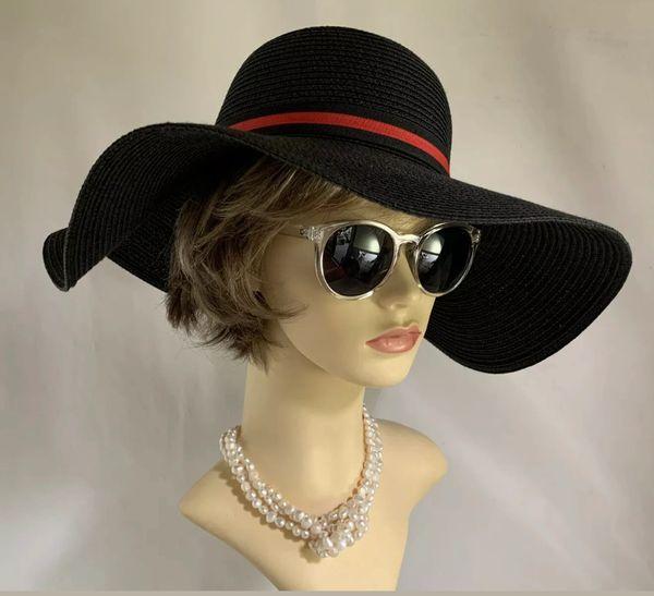 Black Jean Shrimpton Vintage 1960s Style Floppy Brim Hat With Red & Black Ribbon