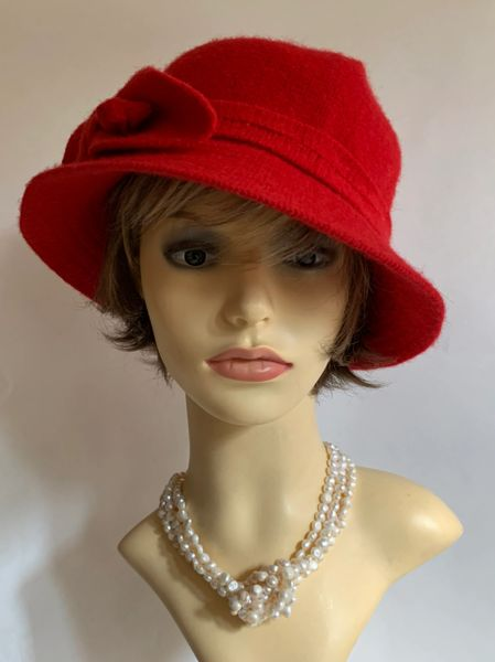 Red Small Brim Wool Mix Cloche Hat Unlined With Wool Ribbon & Bow