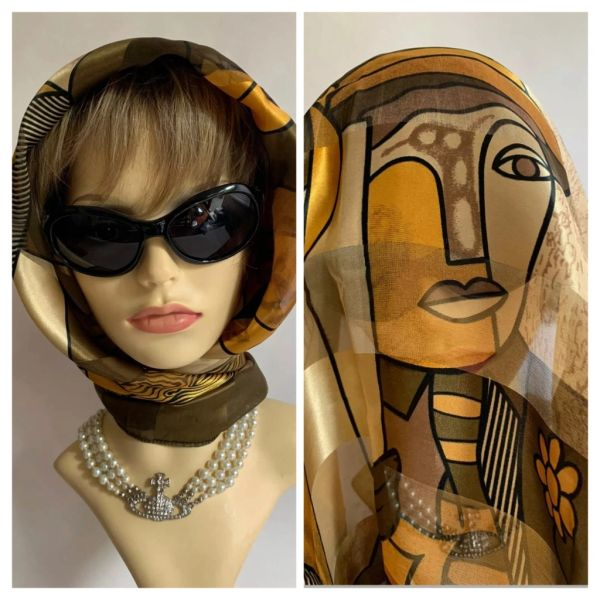 """Picasso Style Patterned Vintage 1970s 39"""" Large Scarf Geometric Olive Beige Gold Polyester"""
