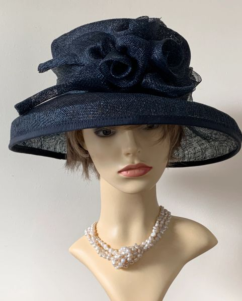 Victoria Ann Sinamay Very Dark Blzck Blue Dress Hat With Front Rosette Detail And Wraparound Band