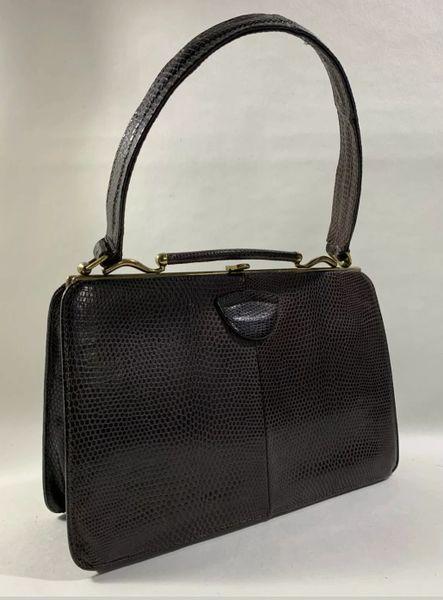Riviera Dark Brown Lizard Skin 1950s Vintage Handbag With Buff Suede Lining.