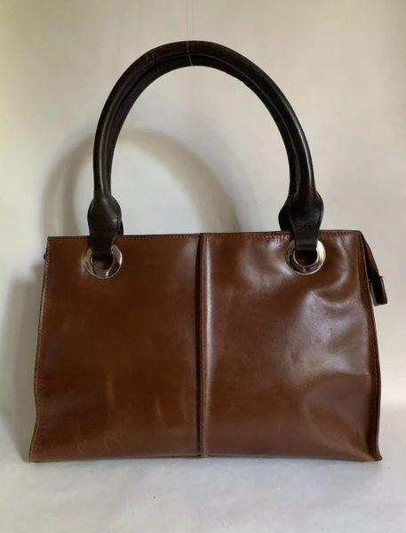 Clarks Tan Medium Leather Tote Handbag Dark Brown Handles Brown Fabric Linings