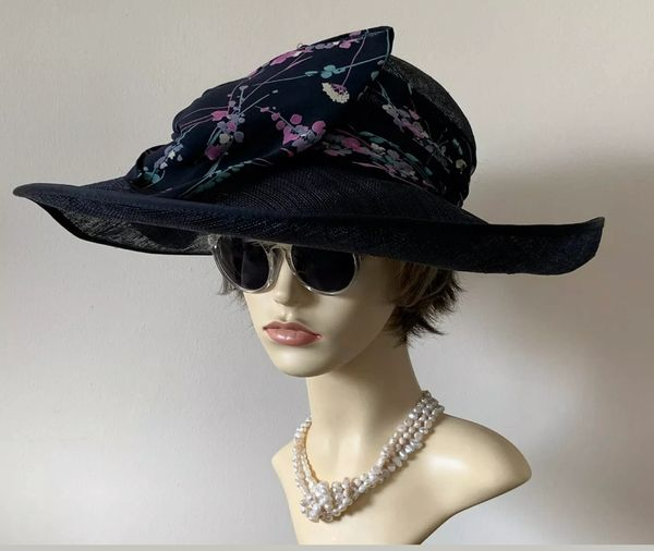 Mansfield Clothes London Formal Dark Blue Straw Hat Very Large Ribbon & Bow .