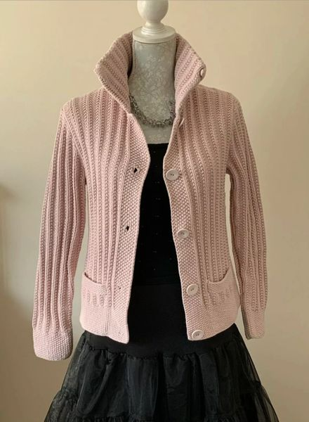 HOBBS Baby Pink Chunky Cotton Knitted Jacket/Cardigan Size UK 14