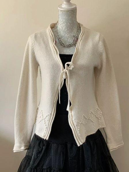Paul Costelloe Dressage Ivory Lambswool Tie Front Cardigan Size 2 (UK 12).