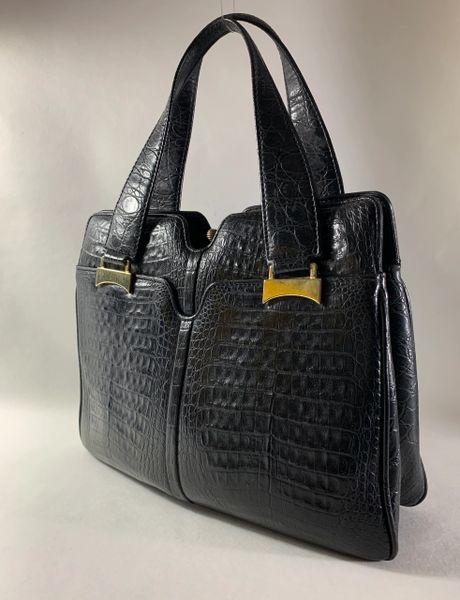 Rieke Vintage 1960s Black Croc Embossed Faux Leather Handbag With Satin Lining And Hidden Side Pockets