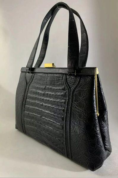 Rieke Vintage 1960s Black Croc Embossed Faux Leather Handbag Satin Lining Hidden Side Pockets