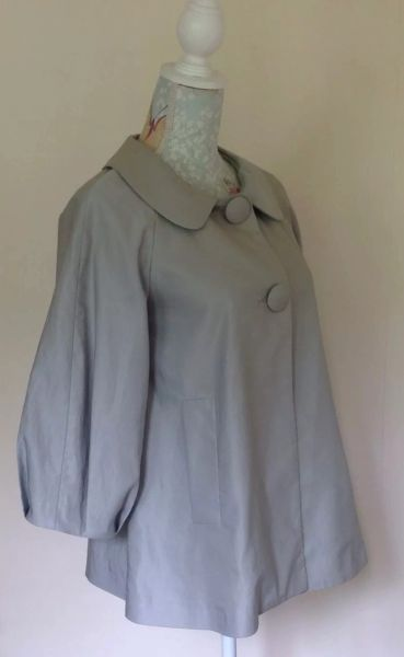 Bel Air Grey Single Breasted Lined Loose Fit Jacket Size 10 - T1