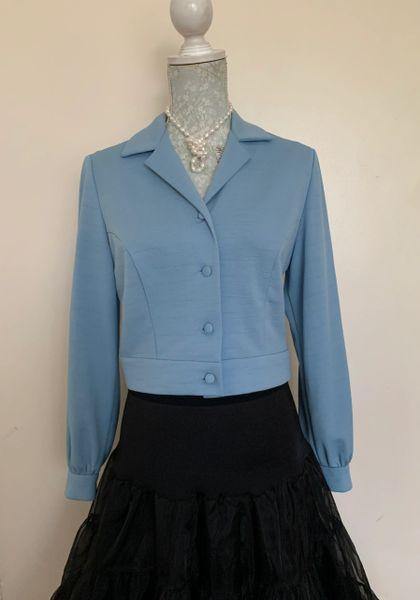 DL Barron Baby Blue Vintage 1970s Cropped Polyester Jacket Cardigan Size UK 14