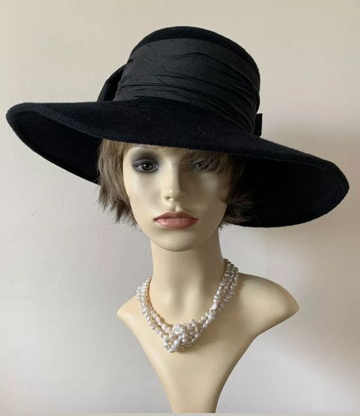Pamela Bromley Large Black Mixed Felt Formal Dress Hat With Large Silk Ribbon & Bow to Rear