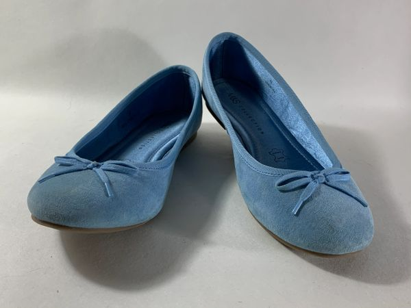 Marks & Spencer Baby Blue Suede Leather Bow Front Slip On Ballet Flats Size UK 4 EU 37.