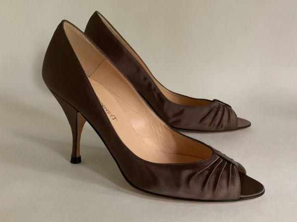 "LK Bennett Taupe Satin Peep Toe Court Shoe Slim 3.5"" Stiletto Heel Size UK 4 EU 37"