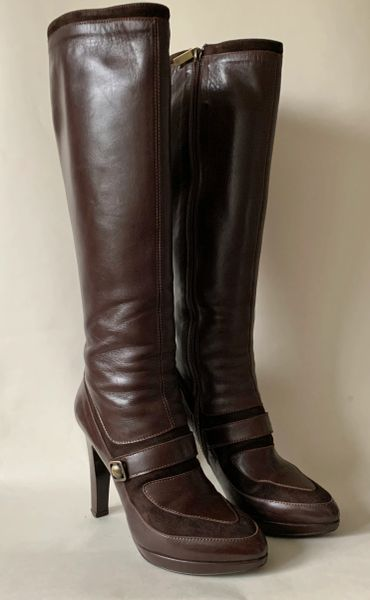 "Joseph Brown All Leather Pull On 4.25"" Slim High Heel Zip Up Boots Size UK 5 EU 38"