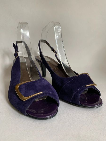"""Zodiaco Purple Suede Leather Open Toe Slingback 3"""" Slim Heel Shoe Size UK 8 EU 42"""