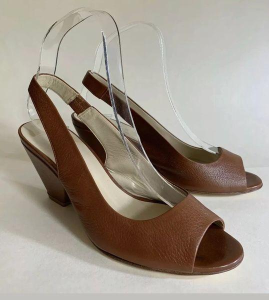 Hobbs Tan Sling Back Peep Toe Leather Shoe Sandal Size UK 4 EU 37.