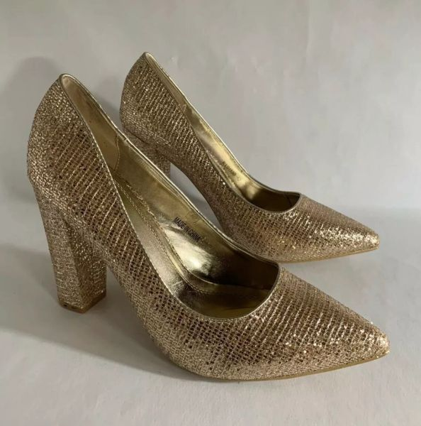 DIVA Gold Glitter Faux Leather Pumps High Heels Court Shoes In Original Box Size UK 7 EU 40