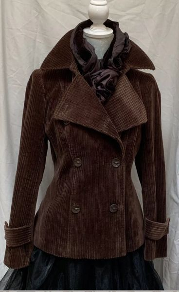 Per Una Marks & Spencer Trench Coat Style Brown Double Breasted Corduroy Jacket With Patterned Lining Size 12.