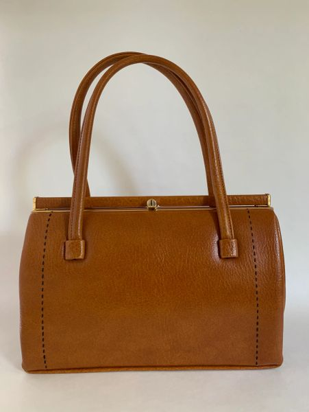 Weymouth American JR Styled 1960s Vintage Tan Faux Leather Handbag Brown Fabric Lining