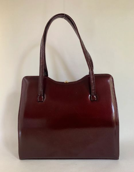 Norvic Vintage 1960s Burgundy Handbag Patent Leather With Black Satin Lining