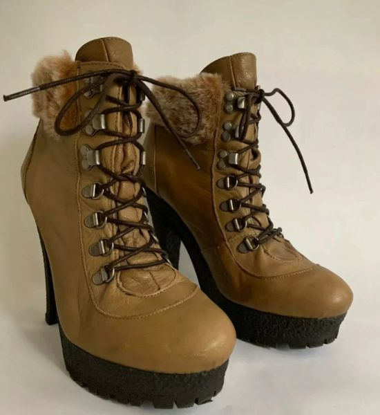 Topshop Ankle Boots Light Tan Steampunk 5 inch Chunky Heel Lace Up Platform Size UK 7 EU 40