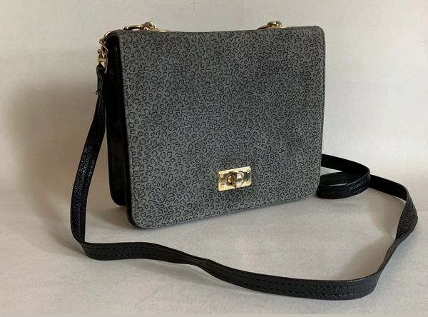 Russell & Bromley Small Black All Leather Shoulder Bag With Grey Suede Animal Print Flap With Detachable Strap.