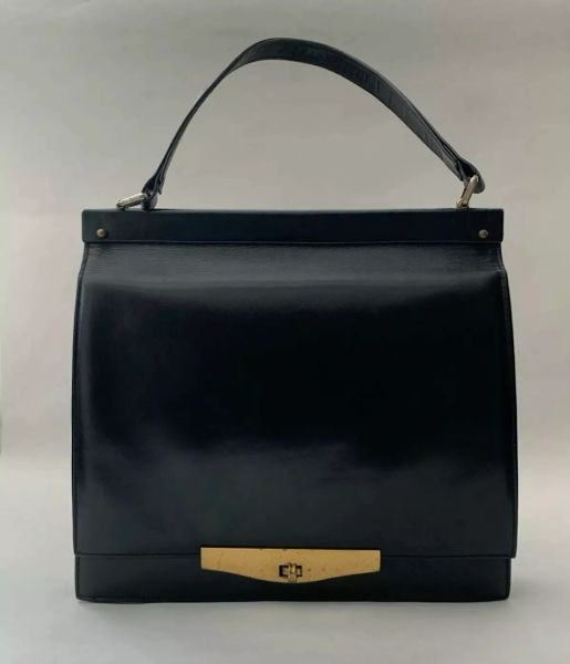 Dolcis Vintage 1960s Black Leather Slim Front Flap Handbag With Vanity Mirror And Satin Lining