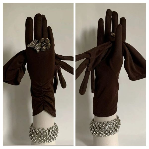 Vintage 1950s Brown Rear Gathered 11 Inch Nylon Evening Formal Gloves Size 7
