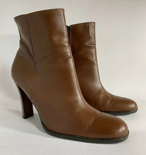 Dolcis Tan Leather Round Toe 4 Inch Slim Heel Zip Up Ankle Boots Size UK 6 EU 39