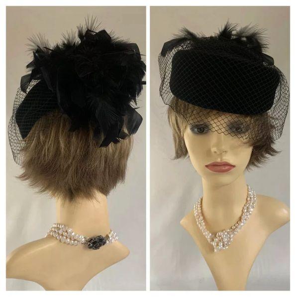 Vintage 1980s Black Velvet Pillbox Hat Face Veil Large Rear Feather Detail Lined.