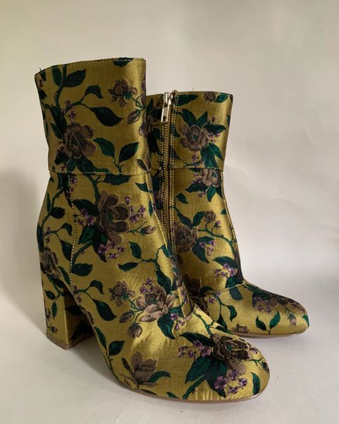"Steve Madden Gold Satin Floral Zip Up Round Toe Ankle Boots 4"" Block Heel Size UK 4. EU 37"