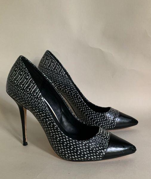 """Dune Black Leather & Snake Patterned 4.5"""" Pointed Toe Court Shoe Size UK 4 EU 37."""